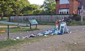 An overflowing bin in Richmond Park, south-west London