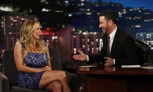 Stormy Daniels on Kimmel in January this year. She told him: 'That does not look like my signature, does it?'