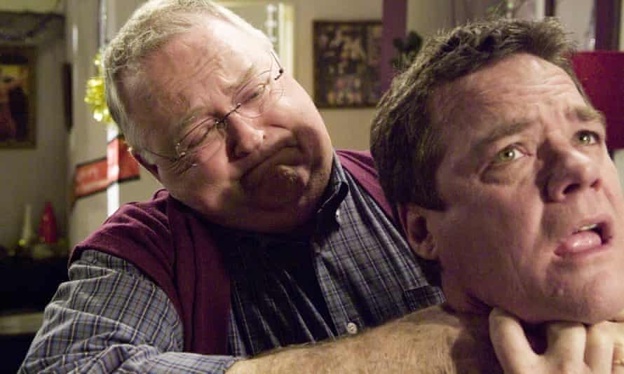 Harold (Ian Smith) and Paul (Stefan Dennis) tussle it out.