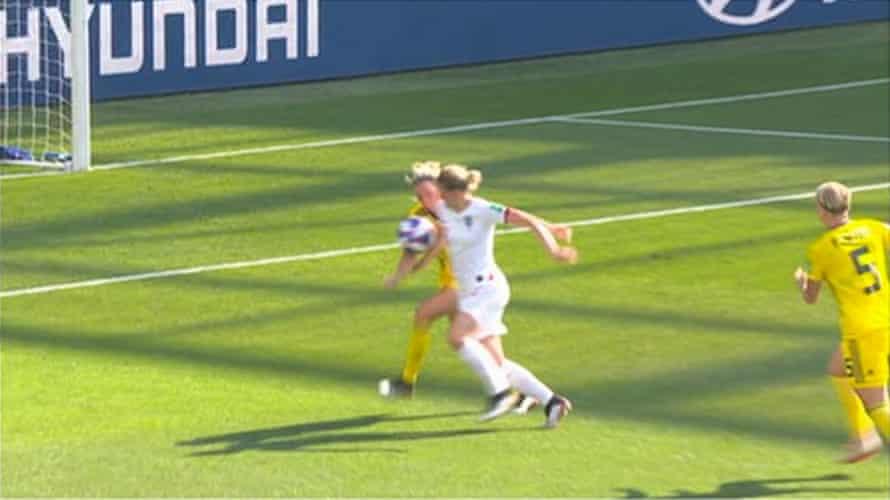 Ellen White controls the ball before scoring a goal that was disallowed after a VAR decision of handball.