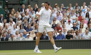Milos Raonic celebrates getting back into the game.