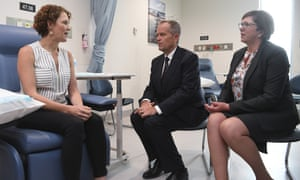 2019 Australian federal election: Labor leader Bill Shorten and shadow health minister Catherine King speak to cancer patient at Canberra Hospital.
