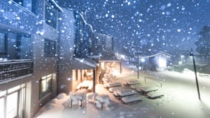Snow falls over Thredbo