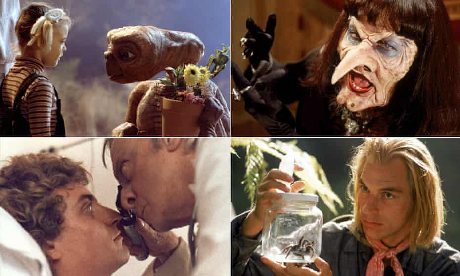 From clockwise: E.T., The Witches, Arachnophobia and Patrick