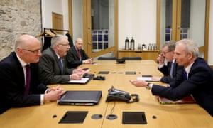 John Swinney, left, and Mike Russell, second left, meet David Lidington, right, and David Mundell, second right, in Edinburgh