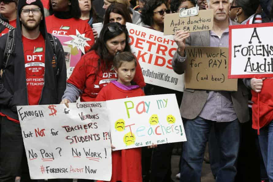 There have been large-scale protests waged by teachers who have faced the prospect of working without pay.