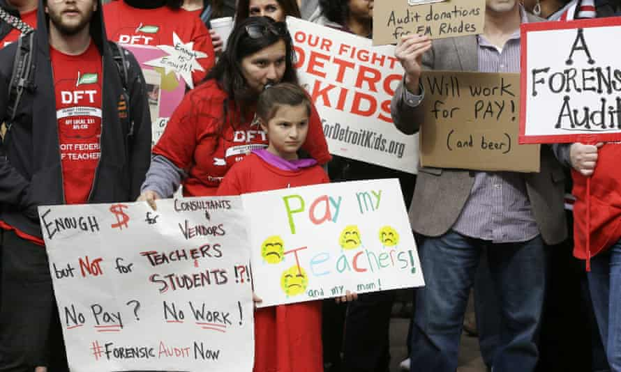 A teachers' rally in Detroit. Of Detroit's 97 public schools, only three were open on Tuesday morning.