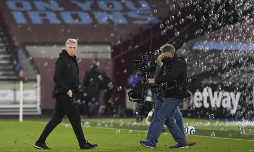 David Moyes on the West Ham pitch with bubbles