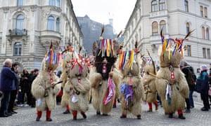 Traditional Slovenian masks on Ljubljana carnival, Slovenia.