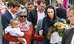 Prime Minister Jacinda Ardern arrives at the Kilbirnie Mosque in Wellington to lay a wreath
