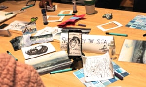 Selfie by the Sea with Alexandra Leadbeater at the Guardian Education Centre Cartoon and art family day 17 November 2018