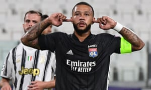 Memphis Depay celebrates after scoring Lyon's early goal at Juventus, which proved decisive for his side.