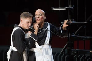 Luke Mullins (Solange) and Jake Fairbrother (Claire) in The Maids.