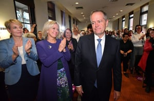 Bill Shorten, Chloe Shorten and Deputy Opposition Leader Tanya Plibersek during the launch of Labor's policy on womens policy in Melbourne.