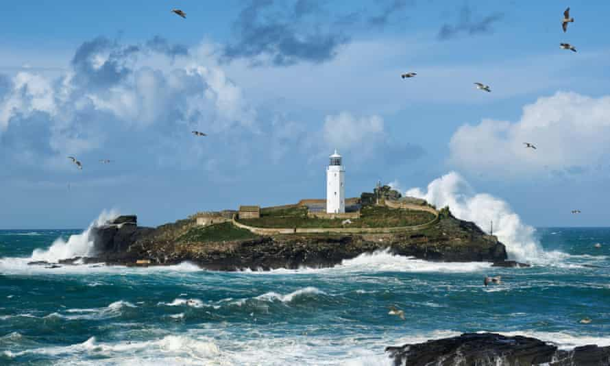 The lighthouse on Godrevy Island in Cornwall