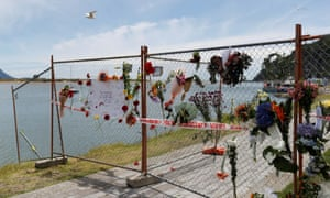 A memorial is seen at the harbour in Whakatane
