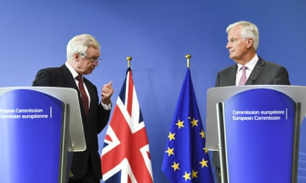David Davis, left, and Michael Barnier at a media conference during the third round of Brexit negotiations in Brussels.