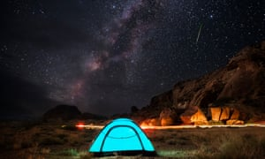 The Perseid meteor shower at the Texas Bend in Big Bend National Park in August 2016.