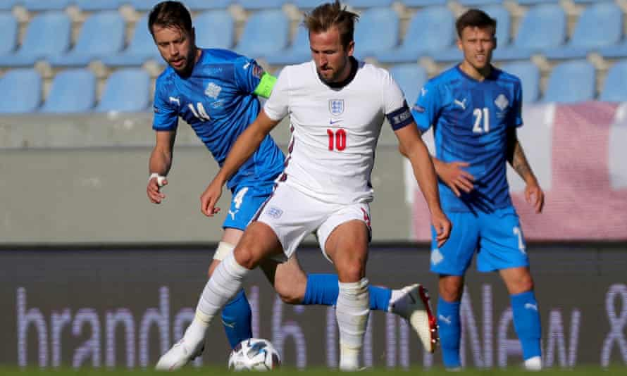 Harry Kane in action against Iceland in in Reykjavik in September – the return fixture is in doubt