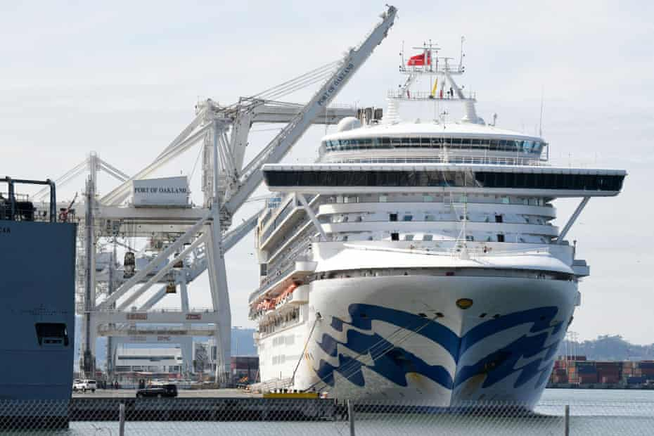 The Grand Princess cruise ship sits docked at the Port of Oakland.