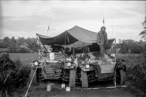 Jimmy Cauty of the KLF with his two Saracen armoured cars at the Fairmile road protests in Devon, 1994.