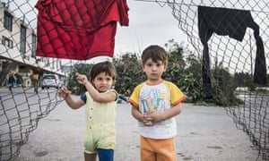 Refugee children at a camp in Athens.