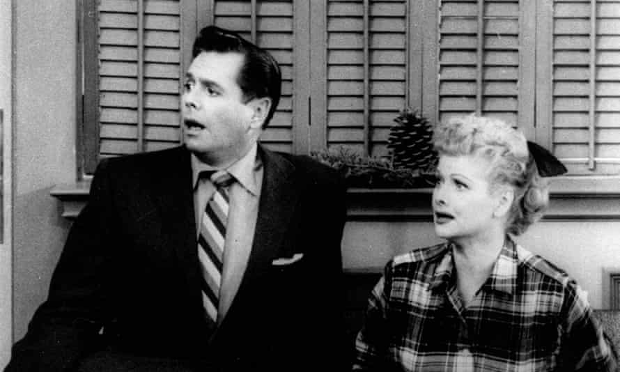 Desi Arnaz and Lucille Ball, as Ricky and Lucy Ricardo, in an I Love Lucy Christmas special in 1956.