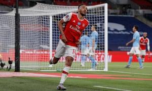 Arsenal's Pierre-Emerick Aubameyang celebrates scoring their second goal.