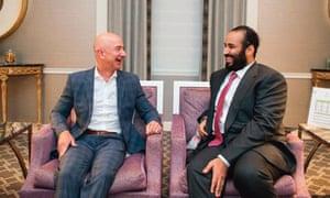 Jeff Bezos sits next to Mohammed bin Salman