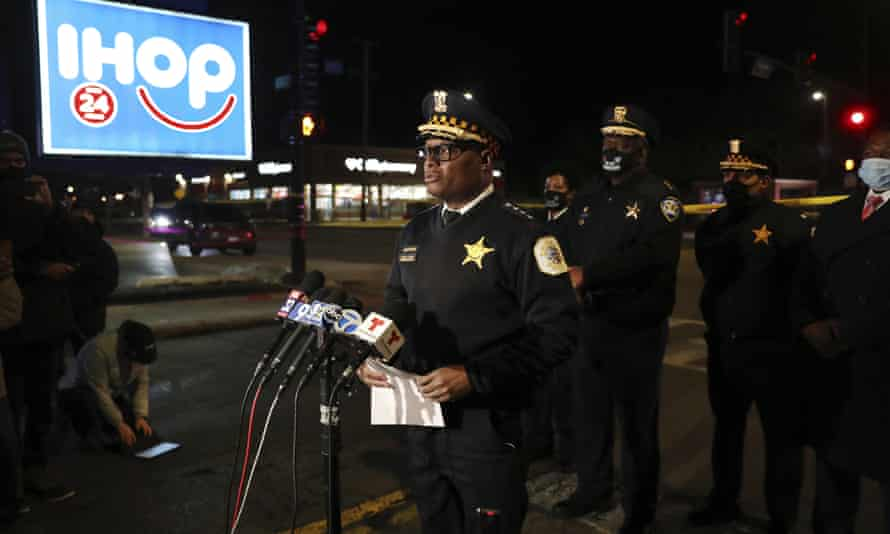 Chicago police superintendent David Brown speaks at the scene of one of the shootings.