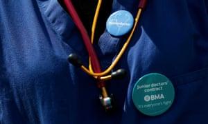 Badges of a junior doctor on strike in April