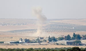 Rising smoke in Jarabulus, Syria, after Turkish armed forces defused Isis bombs during Operation Euphrates Shield
