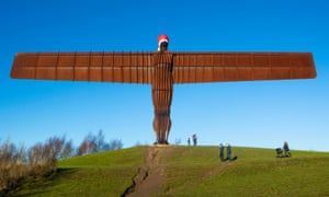 0120d12f1c156 Pranksters dress Angel of the North in Santa hat