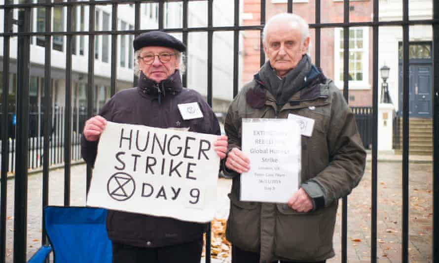 Peter Cole, 76, and Marko Stepanov, 67, during their hunger strike outside the Conservative party headquarters.