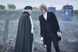 Old Doctors David Bradley and Peter Capaldi bow out in a scene from the Christmas episode.