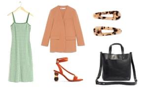 Dress, £59, stories.com Blazer, £79.99, zara.com Sandals, £99, uterque.com Hairslides, £45 by Valet from net-a-porter.com Bag, £121.84, madewell.com