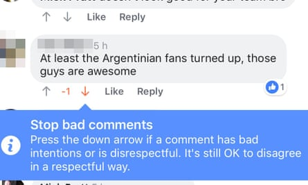 A screen grab from a Facebook page showing the new downvote or dislike feature on the comments section.
