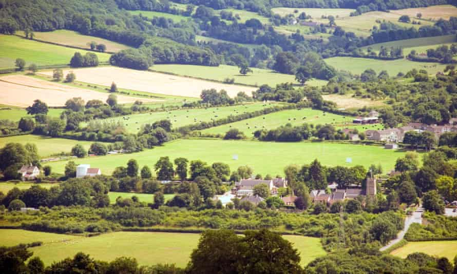Bathampton Meadows. A view of the village and surrounding countryside from Little Solsbury Hill