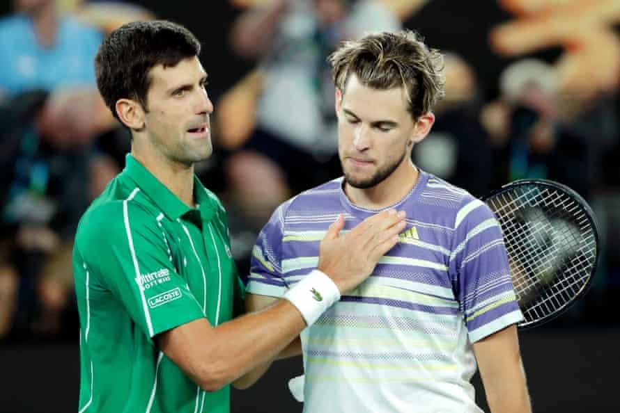 Novak Djokovic consoles Dominic Thiem