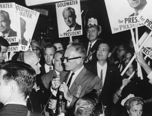 Senator Barry Goldwater, the American Republican politician and presidential candidate, talks to supporters in Arizona during his 1964 campaign.