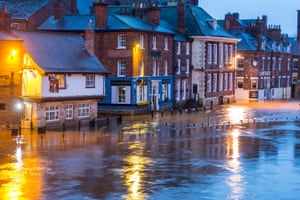 The River Ouse in York city centre has broken its banks