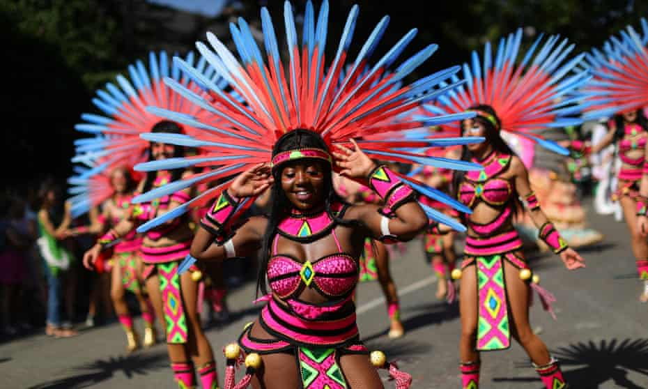 Dancers perform during the the Notting Hill carnival in west London in 2019.