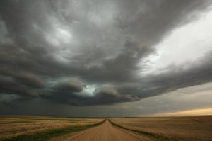 A supercell thunderstorm develops, May 8, 2017 in Elbert County, Colorado.