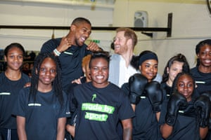 Prince Harry with the boxers Anthony Joshua and Nicola Adams at a campaign launch in London, England