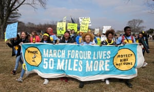 Students finish a four-day, 50-mile March for our Lives, arriving in Traxler Park in Janesville, Wisconsin, the hometown of the House speaker, Paul Ryan, on Wednesday.