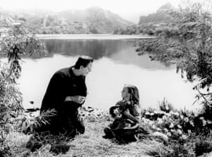 Boris Karloff and Marilyn Harris in Frankenstein