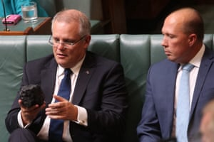 The treasurer, Scott Morrison, with a lump of coal during question time