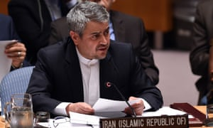 Gholamali Khoshroo speaks during a security council meeting after a vote on the Iran resolution at the UN headquarters in New York on 20 July 2015.