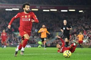 FBL-ENG-PR-LIVERPOOL-WOLVESLiverpool's Egyptian midfielder Mohamed Salah runs onto a through-ball.