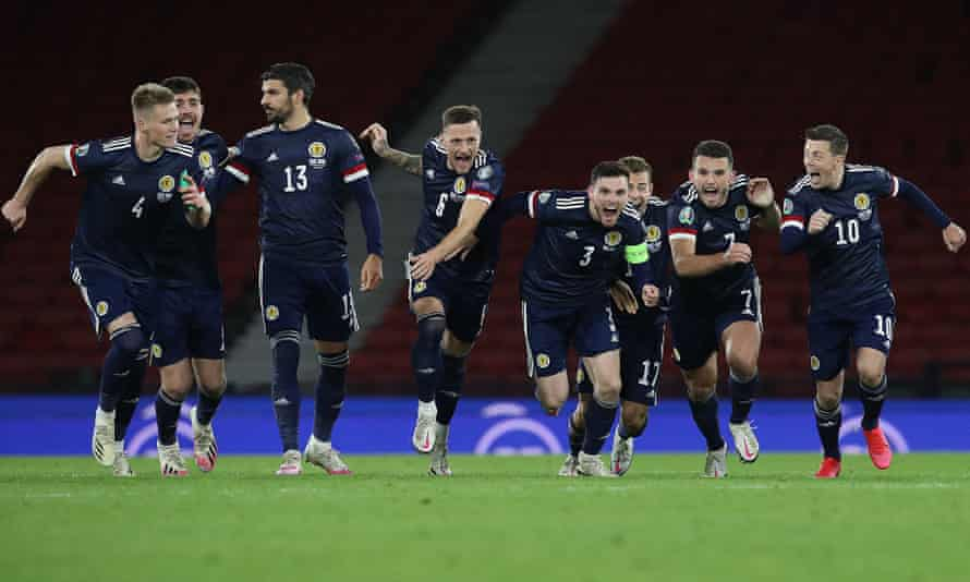 Scotland players celebrate their penalty shootout win over Israel at Hampden Park in October.